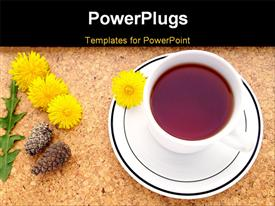 PowerPoint template displaying tea in a white china porcelain teacup acorn and dandelion flowers from gardening warm earth tone colors in the background.