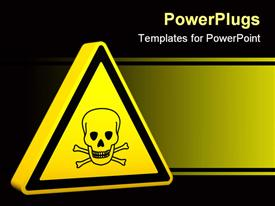 PowerPoint template displaying yellow hazard sign with skeleton