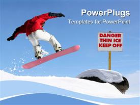 PowerPoint template displaying snowboarder jumping high in the air