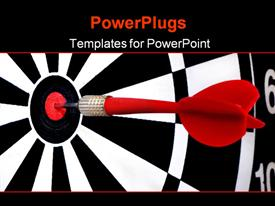 PowerPoint template displaying red dart hitting the middle of a dart board