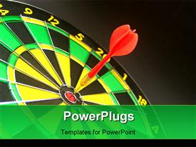 PowerPoint template displaying a red dart hitting the middle of a dart board