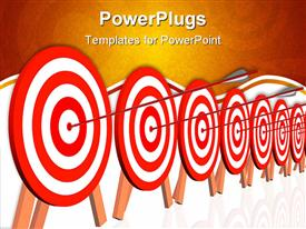 PowerPoint template displaying several dartboard targets with arrow hitting the mark