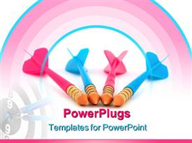 PowerPoint template displaying pink and blue toy darts with bulls eye target, competition