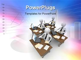 PowerPoint template displaying computer Generated Depiction - Data Analysis in the background.