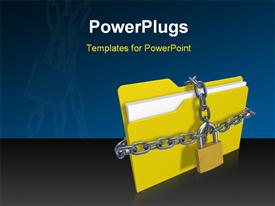 PowerPoint template displaying silver chain and padlock protecting yellow folder icon from unauthorized access