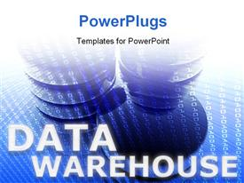 PowerPoint template displaying data warehouse abstract computer technology information concept