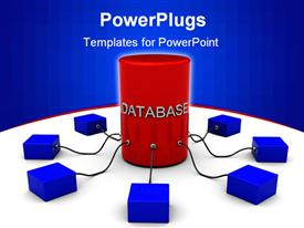 PowerPoint template displaying database collecting information rom many smaller ones