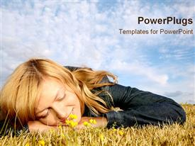 Girl laying in field daydreaming powerpoint design layout