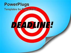 PowerPoint template displaying the word Deadline and a red target on a hanging wall calendar