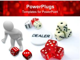 PowerPoint template displaying conceptual depictions about gambling casino and games of chance