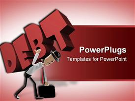 PowerPoint template displaying animated human figure carrying a heavy Debt text on a red background