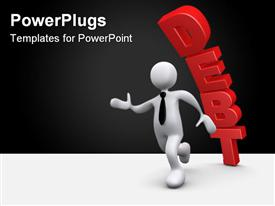 PowerPoint template displaying computer Generated 3D Depiction - Debt