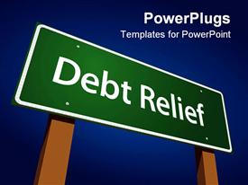Debt Relief Green Road Sign Illustration on a Radiant Blue Background powerpoint theme