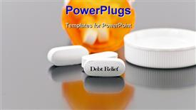 PowerPoint template displaying white medical tablet pill with Debt relief written down on it in the background.
