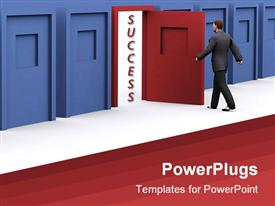 PowerPoint template displaying man about to walk through red door of success in blue corridor