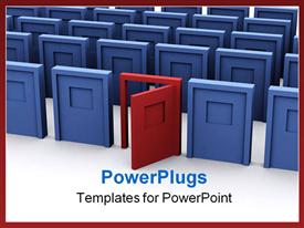 PowerPoint template displaying open red door among closed blue doors