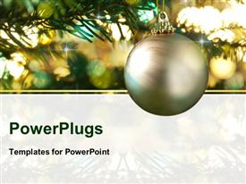 PowerPoint template displaying decorative gold bauble in a Christmas tree in front of a glitter background