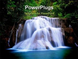 Deep forest waterfall powerpoint template