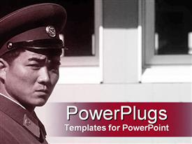 Alert Asian military officer powerpoint theme