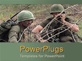 PowerPoint template displaying army duo communicate behind barbed wire