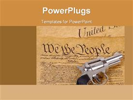 Declaration of independence and a gun. right to bare arms concept powerpoint template