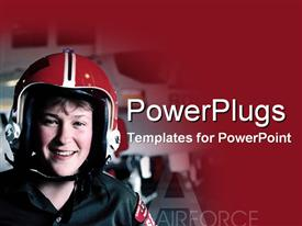 Happy female air force pilot on the job template for powerpoint