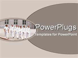 Officers in white dress uniform marching powerpoint design layout