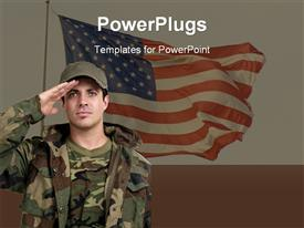 PowerPoint template displaying soldier Saluting