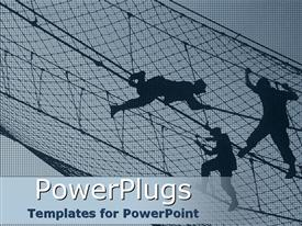 PowerPoint template displaying night view of a net with three uniformed men climbing
