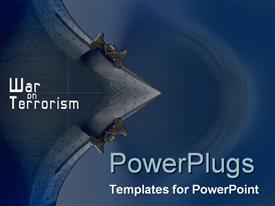 PowerPoint template displaying war on Terrorism theme with strong navy tones and imagery in the background.