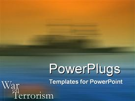 PowerPoint template displaying war on Terrorism theme with wash of war ship