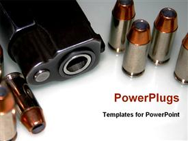 Bullet and gun for security powerpoint template