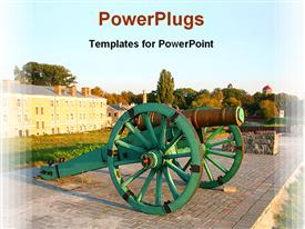 Gun on the fortress walls powerpoint design layout