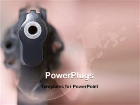 Self-defense woman with gun at gun point presentation background