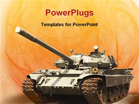 PowerPoint template displaying shot of a military tank from seventies