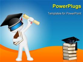 PowerPoint template displaying man in fully scalable with degree and graduation hat in the background.