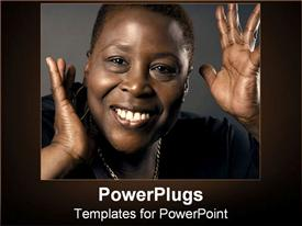 PowerPoint template displaying african-American woman with a smile on grey background