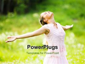 PowerPoint template displaying relaxing woman with closed eyes and stretched arms expressing delight outdoors in the background.