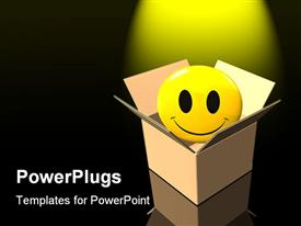 Large yellow smiley face protruding out of an open cardboard box powerpoint design layout