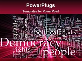 Word cloud concept democracy political glowing light effect template for powerpoint