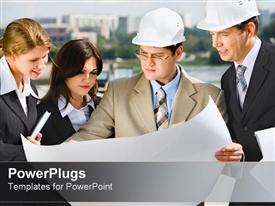 PowerPoint template displaying business people with hard hats studying blueprint diagram