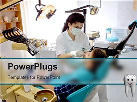 PowerPoint template displaying patient and female dentist in dental office, equipment, chair, oral hygiene