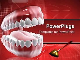 PowerPoint template displaying dental care theme with mouth and teeth and tongue with dental tool on red background