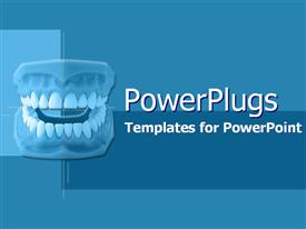 PowerPoint template displaying set of dentures on blue geometric background