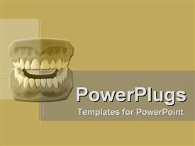 PowerPoint template displaying the complete dentures of a human being on abrown background