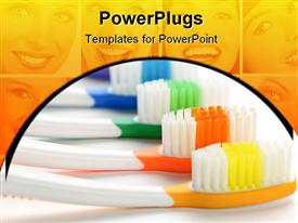 PowerPoint template displaying row of multicolored toothbrushes in front of smiling faces