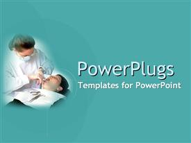 PowerPoint template displaying a female dentist and her patient with dentist's tools on a solid colored teal background