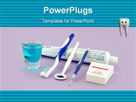 PowerPoint template displaying tooth paste, brush and other dental health equipments that a person should use regularly