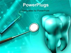 PowerPoint template displaying a big 3D tooth, with some dental equipments on  blue background