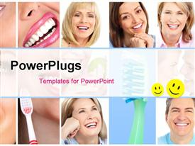 PowerPoint template displaying collage of people with whitened teeth through proper dental care